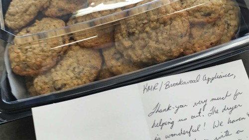 Thank-you cookies from one of our satisfied customers at Brookswood Appliance Service.